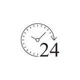 24 heures de ferme icône, service client, appui illustration de vecteur