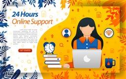 24 heures de service client hotlink en ligne service en ligne pour aider des clients, ilustration de vecteur de concept peut empl illustration libre de droits