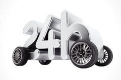 24 heures de service et concept de la livraison sur des roues rendu 3d Illustration Libre de Droits