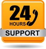24 heures de soutien de Web d'orange de bouton illustration stock