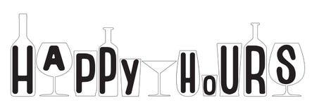 Heures heureuses Silhouettes transparentes de bouteilles et en verre Vecteur illustration stock
