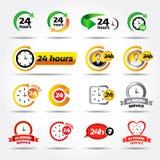 24 heures Icônes colorées de vecteur réglées : 24/7, insigne, label ou autocollant pour le service client, l'appui, le centre d'a illustration libre de droits