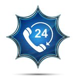 24 heures ouvrent le téléphone tournent le bouton bleu de rayon de soleil vitreux magique d'icône de flèche illustration stock