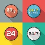 24 heures sur 24 et 7 jours par semaine Image stock