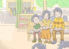 Heureusement une famille dans l'église Image libre de droits