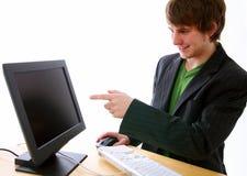 Heureux avec l'ordinateur Image libre de droits