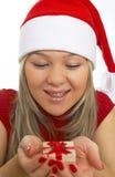 heureux avec le cadeau de Noël photos stock