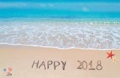 2018 heureux dans le sable Photographie stock libre de droits