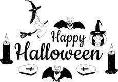 ` Heureux de Halloween de ` de bannière Dessin à la main Vecteur illustration de vecteur