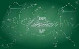 ` Heureux de jour du ` s de Valentine de ` d'icônes croquis Illustration de vecteur Craie blanche sur un tableau noir griffonnage Photographie stock libre de droits