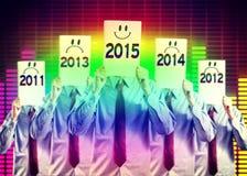 Heureux et négatif pendant la nouvelle année photos libres de droits