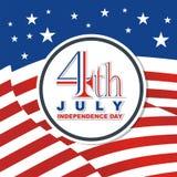 Heureux le 4ème juillet, conception de vecteur de Jour de la Déclaration d'Indépendance des Etats-Unis Photo stock