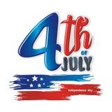 Heureux le 4ème juillet, conception de vecteur de Jour de la Déclaration d'Indépendance des Etats-Unis Photos stock