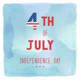Heureux le 4ème juillet sur le fond bleu et vert d'aquarelle Photo stock