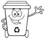 Heureux noirs et blancs réutilisent le caractère de mascotte de bande dessinée de poubelle ondulant pour la salutation illustration stock