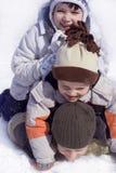 Heureux sur la neige Image libre de droits