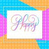 heureux vacances Illustration de vecteur de main avec la composition et l'éclat en lettrage Photographie stock