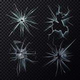 Heurté ou a cassé des fissures de fenêtre, d'écran ou en verre Photo stock
