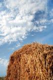 Heuschober auf einem Hintergrund des blauen Himmels Stockfotos