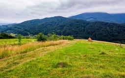 Heuschober auf ländlichem Feld in den Bergen Lizenzfreies Stockfoto