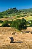 Heuschober und Bäume in der sonnigen toskanischen Landschaft, Italien stockfotos