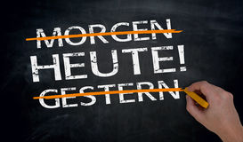 Heute, Morgen, Gestern in german Today, tomorow, yesterday is Royalty Free Stock Images