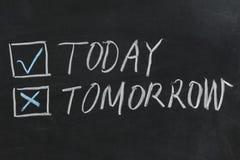 Heute oder morgen stockfotografie