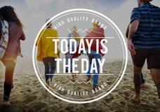 Heutiger Tag ist der Tag bereit beabsichtigen jetzt Inspirations-Konzept Stockbilder