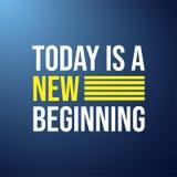 Heutiger Tag ist ein neuer Anfang Lebenzitat mit modernem Hintergrundvektor stock abbildung
