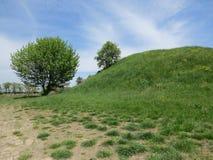 Heuvel in de lenteweide royalty-vrije stock afbeelding