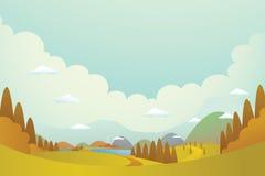 Heuvel en dorpen Royalty-vrije Stock Afbeeldingen