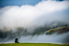 Heuvel en mist royalty-vrije stock fotografie