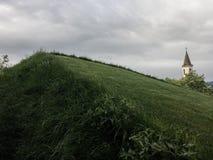Heuvel met gras stock fotografie