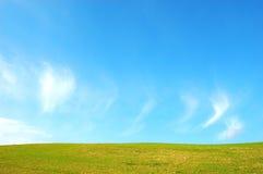 Heuvel met groen gras en blauwe hemel Royalty-vrije Stock Foto
