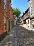 Heuvel van de Cobblestoned de Historische Iep, Norwich, Norfolk, Engeland royalty-vrije stock foto