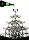 Heuvel van glazen met champagne Royalty-vrije Stock Foto