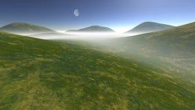 Heuvelig die terrein in mist wordt gewikkeld Royalty-vrije Stock Foto's