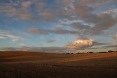 Heuvelig landschap in de zonsondergang Royalty-vrije Stock Afbeelding