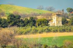 Heuvelig landschap met de overblijfselen van een oude historische toren stock afbeelding