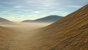 Heuvelig landschap met sommige zand Royalty-vrije Stock Foto's