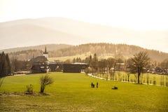Heuvelig landschap van Jizera-Bergen rond Prichovice-dorp Groene weiden met boomsteeg en kleine landelijke kerk royalty-vrije stock foto's