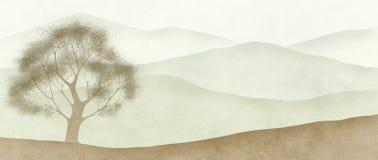 Heuvelig panorama royalty-vrije illustratie