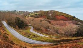 Heuvelige landschap en weg in Jersey, Kanaaleilanden royalty-vrije stock afbeeldingen