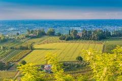 heuvelige platteland en overzees Stock Foto