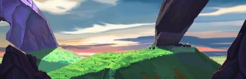Heuvellandschap met rotsen Royalty-vrije Stock Afbeeldingen