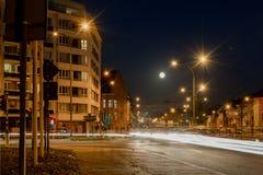 Street of Ghent by night Belgium, `Heuvelpoort` or `Overpoort` stock image