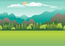 Heuvels en bergenlandschap in vlak stijlontwerp Valleiachtergrond Mooie groene gebieden, weide, en blauwe hemel landelijk vector illustratie