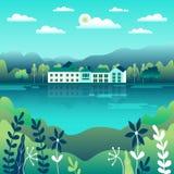Heuvels en bergenlandschap in vlak stijlontwerp Valleiachtergrond Mooie groene gebieden, weide, en blauwe hemel landelijk royalty-vrije illustratie