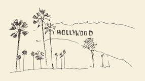 Heuvels en bomen die illustratie graveren, hollywood Royalty-vrije Stock Fotografie