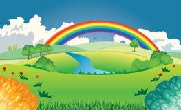 Heuvels en regenboog Royalty-vrije Illustratie